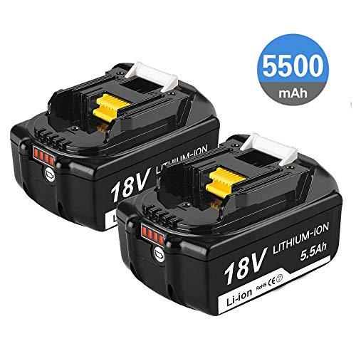 Reoben 2 Stück BL1860B 18V 5.5Ah Lithium Akku Ersatzakku für Makita BL1860B BL1860 BL1850B BL1850 BL1840 BL1830 LXT-400 mit Indikator