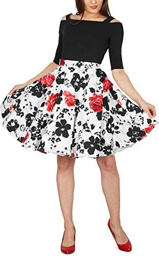 Black Butterfly Floral Rockabilly 1950er-Jahre Swing Tellerrock (Weiß und Rot, EUR 42 – L) - 5