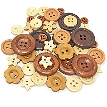Shabby Chic Crafts Sewing Large Wooden Buttons with holes x 15