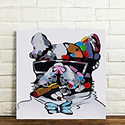 RAIN QUEEN 50X50cm Impression Sur Toile Grand Format Abstrait Drôle Grenouille Lunettes 1 Partie Décoration Chambre Wall Art (Chien)