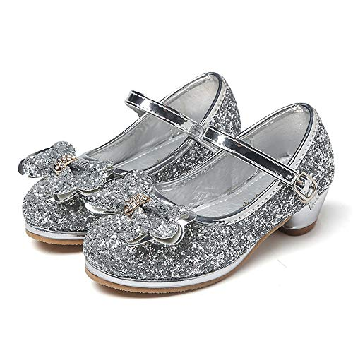 AFCITY Kleinkind Junior Mädchen Tanzschuhe Mädchen Glitter Party besondere Anlässe Blumenmädchen Brautjungfer niedrige hochhackige Schuhe Ballettschläppchen Tanz Schuhe Damen Mädchen