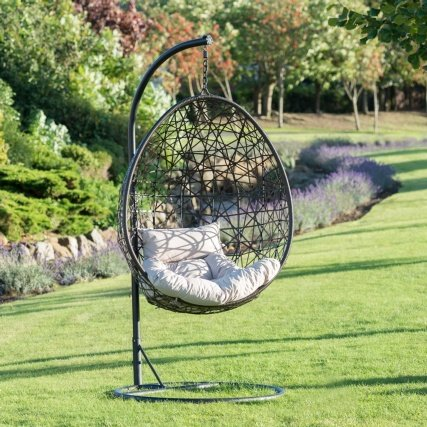 Venice Relaxing Hanging Faux Rattan Egg Chair 192cm