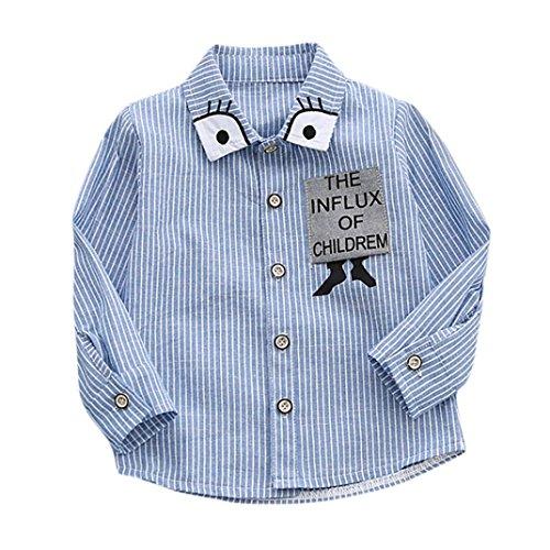 Byste maniche lunghe cartone animato occhio stampa camicia per bambini e ragazzi della banda maglietta la camicetta top (blu, 4 anni)