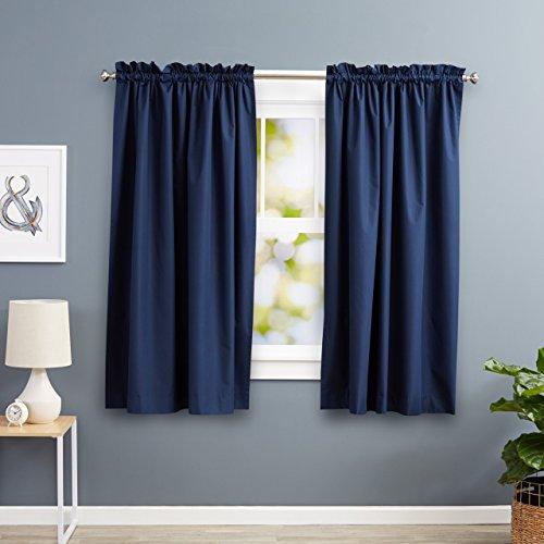 Amazonbasics - tenda termica isolante oscurante con 2 fermatenda, 2 pannelli, 168 x 183 cm - blu navy