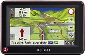 Becker Active 43 Talk inkl. TMC (10,9 cm Display, Kartenmaterial Europa 43, 3D Ansicht, Bluetooth, Becker OneShot Sprachsteuerung, Becker EasyClick Aktivhalter) schwarz/rot