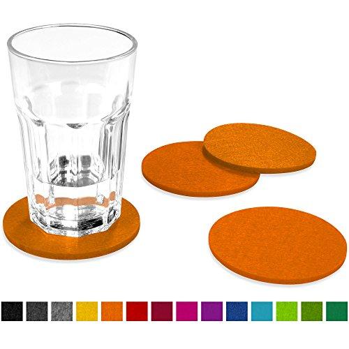 FILU Filzuntersetzer rund 8er Pack (Farbe wählbar) orange – Untersetzer aus Filz für Tisch und Bar als Glasuntersetzer / Getränkeuntersetzer für Glas und Gläser
