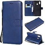 YQXR téléphone Portable Accessoires Etui Portefeuille Alternatif en Cuir de Couleur rétro Solide avec Fentes pour Cartes, Pied de béquille et Fermeture magnétique pour Huawei Nova 3 (Color : Blue)