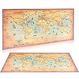 Grande carte du monde vintage en papier kraft