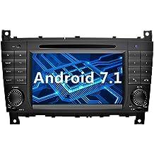 YINUO 7 Pollici Android 7.1.1 Nougat 2GB RAM 2 Din In Dash Quad Core Autoradio Schermo di Tocco Lettore DVD Navigatore GPS Con Bluetooth Supporto DAB/ Control Del Volante Bluetooth/ AV-IN/ 1080p Per Mercedes-Benz C-Class W203 (2004-2007)/ Benz CLK W209(2004-2005) (Autoradio)