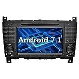 YINUO 7 pouces 2 Din Android 7.1.1 Nougat 2GB RAM Quad Core écran tactile Autoradio Lecteur de DVD GPS Navigation avec Bluetooth orange Button illumination Autoradio Soutien DAB/Bluetooth/Contrôle Volant/AV-IN/1080p pour Mercedes-Benz C-Class W203 (2004-2007)/ Benz CLK W209(2004-2005) (Autoradio)