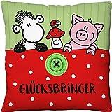 Sheepworld 45562 kleines Plüsch-Kissen Glücksbringer, mit Schaf, Glücks-Pilz, Schweinchen und gestickter Knopf Applikation, 22 cm x 22 cm Zierkissen, 100% Polyester, Grün/Weiß/Rot