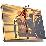álbum de scrapbooking, acordeón autoadhesivo álbum de fotos vintage con pegatinas de esquina, regalo para cumpleaños, boda, aniversario(Patrón de la cámara)