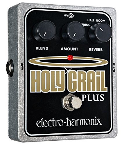 electro-harmonix Holy Grail Plus Holy Grail plus Pedal - Pedal de efecto eco/delay/reverb para guitarra, color plateado