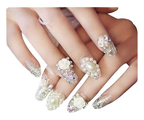 2 Boîtes(48 Pièces) 3D mariage faux ongle/Beau style faux ongle, blanc