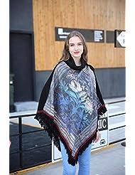 Estilo de moda de lujo Nepal las mujeres espesados manta bufanda abrigo Poncho chal cabo acogedor imitación Cachemira regalos ideales para mujer de gran tamaño 95 * 90cm