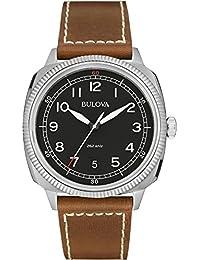 Bulova - 96B230 - Military - Montre Homme - Quartz Analogique - Cadran Noir - Bracelet Cuir Marron