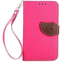 LG G2 Mini (D620) Funda,+Free Gifts Multifunctional Data Line SongNi® TPU Leather Wallet Funda,Leaf shape Magnetic Closure,Card Slot,Wallet,Stand,Flip leather Funda for LG G2 Mini (D620)-Roseo