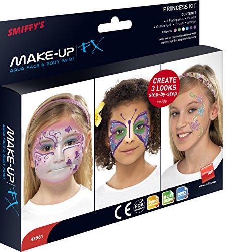 Smiffys SMIFFY 'S 8ml Make-Up FX Aqua Princess Kit Sechs Farben Glitzer Gel Pinsel Schwamm und Guide (Halloween Für Rentier-make-up)