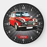 "Mari57llis 15"" Classic Wood Clock, Non Ticking Clock Mini Cooper Large Wall Wooden Decorative Round Wall Clock"