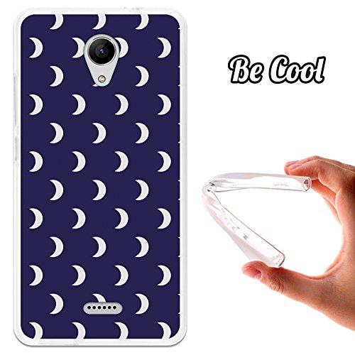 Becool® - Flexible Gel Schutzhülle für Wiko Freddy, TPU Hülle aus bestem Silikon gefertigt, die dank unserem exklusivem Design sich einwandfrei an Ihr Smartphone anpasst und optimalen Schutz gewährleistet. Weiße Halbmonde