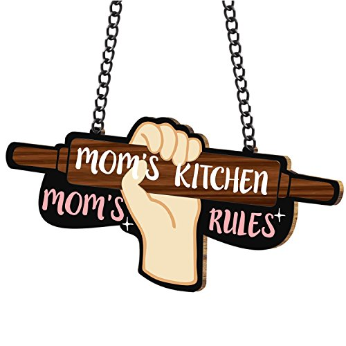 Yaya Cafe Moms Kitchen Moms Rules Kitchen Wall Door Hanging (Brown_13 Inch X 7 Inch (Approx.)