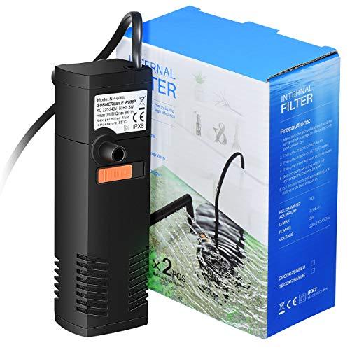 Omorc filtro acquario interno multifunzionale con 2 spugne filtranti sostituibili per serbatoio da 60 litri o serbatoio per tartarughe, ciclo, ossigenazione facile impostazione per aspirazione