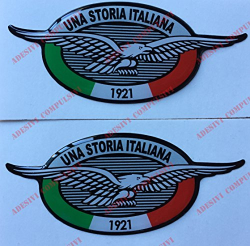 Stemma logo decal MOTO GUZZI, Una Storia Italiana, coppia adesivi resinati, effetto 3D. Per SERBATOIO o CASCO