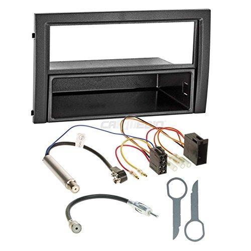Alpine Faceplates (Skoda Fabia Facelift 03-06 1-DIN Autoradio Einbauset in original Plug&Play Qualität mit Antennenadapter, Radioanschlusskabel, Zubehör und Radioblende/Einbaurahmen schwarz)