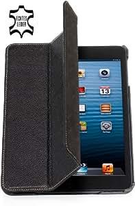 StilGut, Couverture, housse en cuir véritable pour l'iPad mini d'Apple, supporte les fonctions Smart-Cover, en noir