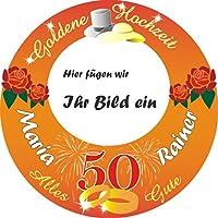 Personalisiertes Tortenbild -Goldene Hochzeit- mit Foto, Namen und Alter