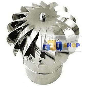 CHEMINEE PAROI SIMPLE TUYAU TUBE INOXIDABLE AISI 316 - Terminale dn 180 cappello eolico