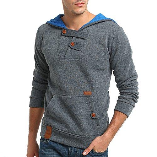 ShaDiao Herren Heavy Blend Kapuzen-Sweatshirt,Beiläufige Lange Hülsen Knopf Sweatshirt-Bluse der Männer übersteigt Hoodie Outwear mit Tasche -