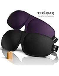 TECHMAX Sleep Mask, 2 Pack Lightweight & Comfortable Eye Masks, Super Soft Adjustable 3D Sleeping Mask For Travel...