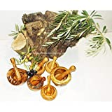 Morteros rústicos de madera de olivo