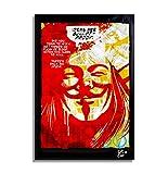V for Vendetta Dc Comics - Original gerahmt Fine Art Malerei, Poster, Leinwand, Artwork, Druck, Plakat, Leinwanddruck