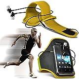 hülle Tasche (Gelb + Kopfhörer) CUBOT X9 hülle Tasche (Abmessungen 143,5 x 6,9 x 72,5 cm) Kasten-Qualitäts-Einbau Sport Armbands Laufen Rad Radfahren Jogging und Fitnessstudio Ridding Arm-Band-Kasten-Abdeckung mit Fall-Qualitäts-Einbau in Earbuds Stereo Hands Free-Kopfhörer-Headset mit Mikrofon Mic Built und Ein-Aus-Knopf von i-Tronixs