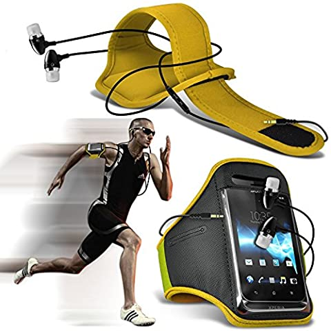 ( Yellow + Earphone ) HTC One Me Case High Quality Fitted Sports Armbands Running Bike Cycling Gym Jogging Ridding Arm Band Case Cover With Case High Quality Fitted in Ear Buds Stereo Hands Free Headphones Headset with Built in Microphone Mic and On-Off Button by i-Tronixs