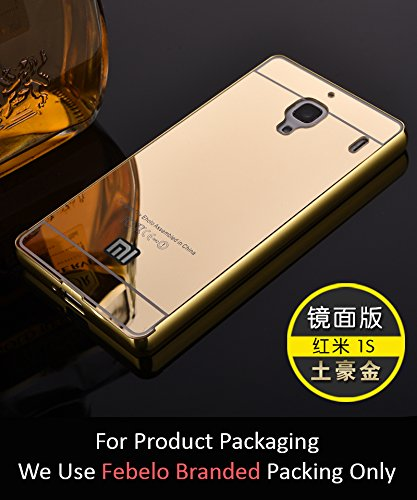 Febelo Branded Luxury Metal Bumper Acrylic Mirror Back Cover Case For Xiaomi Redmi 1S - Gold Plated
