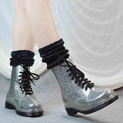 Ms. Inverno transparent glitter stivali da pioggia Martin stivali Silver