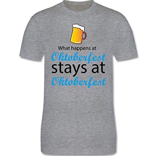 Oktoberfest Herren - What happens at Oktoberfest - Herren Premium T-Shirt Grau Meliert