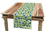 ABAKUHAUS Fruits Chemin de Table, Floraison Blueberry Feuilles, Décoratif Lavable en...