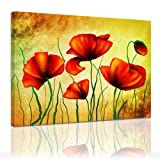 Kunstdruck - Mohnblumen - Bild auf Leinwand - 80x60 cm - Leinwandbilder - Urban & Graphic - Pflanzen - Blumen - Klatschmohn - Feldblume