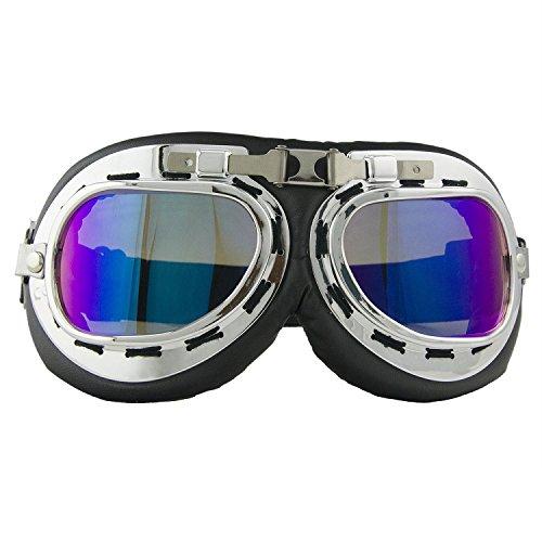 Motorradbrille Motorrad Schutzbrille Raf Aviator Vintage Pilot Biker Cruiser Fliegerbrille Windproof Sun UV Helmmaske Eyewear Sport Skibrille Schutzbrille Dekoration Requisiten ()