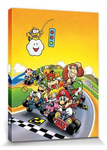 1art1 78867 Super Mario - Kart, Retro Poster Leinwandbild Auf Keilrahmen 40 x 30 cm