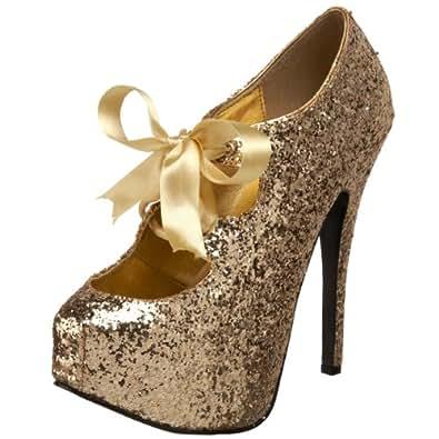 Pleaser Bordello by Women's Teeze 10 Glitter Platform Pump, Gold Glitter, 6 M US