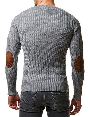 EightyFive Herren Winter Strick Pullover Slim Fit Rauten Netz Schwarz Weiß Rot Blau Grau EF1003 Grau