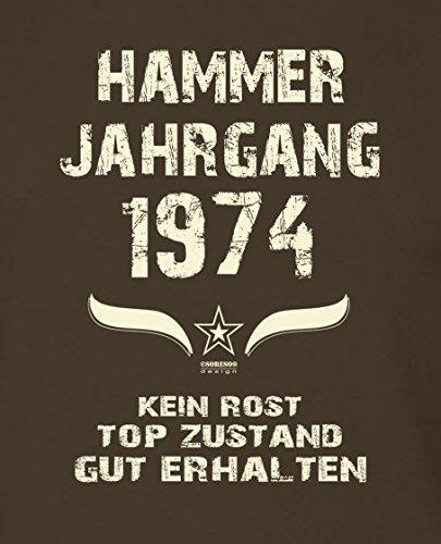 Geschenkidee zum 43. Geburtstag :-: Geschenk Herren kurzarm Geburtstags-Sprüche-T-Shirt mit Jahreszahl :-: Hammer Jahrgang 1974 :-: Geburtstagsgeschenk Männer :-: Farbe: braun Braun