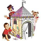 Leo & Emma Spielhaus XXL 102 x 147 cm DIY Doodle Zeichnen Kunst Bastelset für Kinder Pappe Spielhaus Malhaus zum Bemalen und Dekorieren inkl. Stifte (Zirkus)
