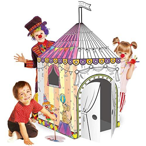 Leo & Emma Doodle Casa de Juguete DIY Dibujar sintética Juego de Manualidades para niños cartón Casa de Juguete malhaus para Pintar y Decorar Incluye lápices (circense)