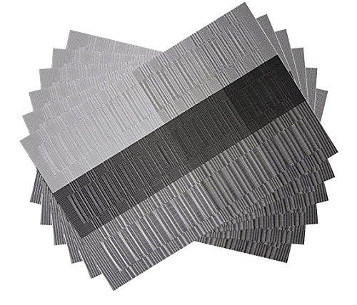 Placemats Set of 6 for Kitchen Table Heat Resistant Washable Vinyl Table Place Mats (Placemats, Black)